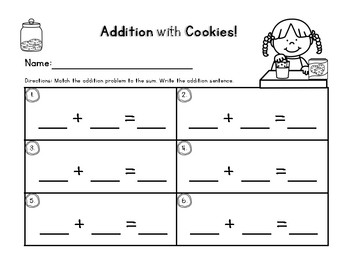 Addition Center Activity, Numbers 0-10 {Cookie Themed}