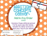 Addition Center: Add in Any Order - GO MATH! 1st grade