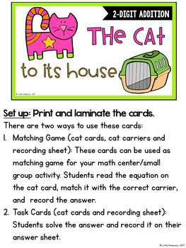 2-Digit Addition Without Regrouping Task Cards