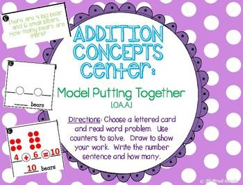 Addition Center: Model Putting Together - GO MATH! 1st grade