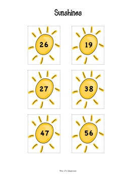 Addition Center - POCKETS FULL OF SUNSHINE -  No Regrouping - Sums to 100's