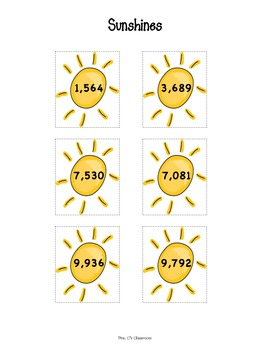 Addition Center - POCKETS FULL OF SUNSHINE -  With Regrouping - Sums to 1000's