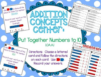Addition Center: Put Together Numbers to 10 - GO MATH! 1st Grade