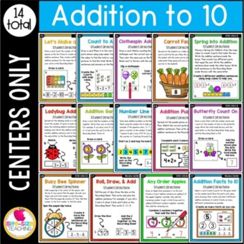 First Grade Addition to 10 Centers
