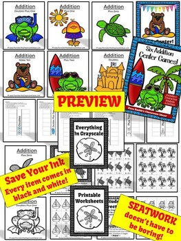 Addition Centers, Printable Seat Work and Interactive Notebook Activities