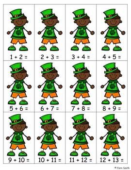 St. Patrick's Day Addition Math Center Games
