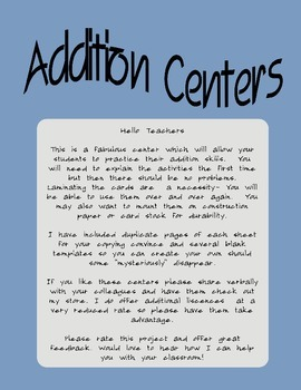 Addition Centers for numbers 1-20