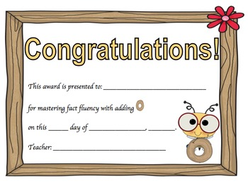 Addition Certificates Bee Theme (adding 0-9)