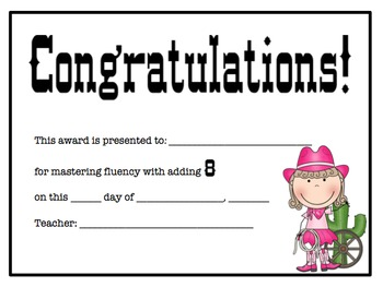 Addition Certificates Cowboy/Cowgirl Theme (adding 0-12)