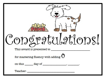 Addition Certificates Dog Theme (0-9 addition facts)