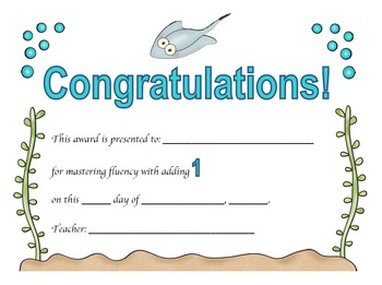 Addition Certificates Ocean Theme (adding 0-12)