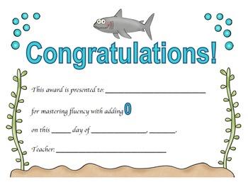 Addition Certificates Ocean Theme (adding 0-12)