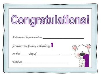 Addition Certificates Polar Bear Theme (adding 0-12)