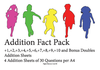 Addition Challenge Sheets 1-10+ and Doubles (4 Tests per sheet)