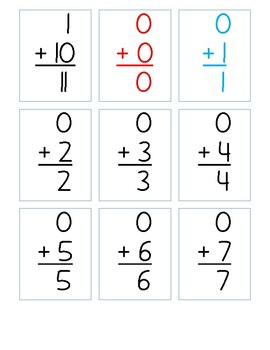 Addition Chart Cards