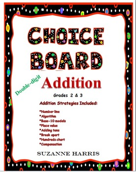 Addition Choice Board w/ Addition Strategies Posters and Math Worksheets