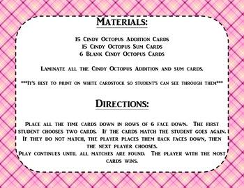 Addition - Cindy Octopus Recalls Basic Addition Facts!