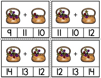 Addition Clip Cards Blooming Through Addition to 20