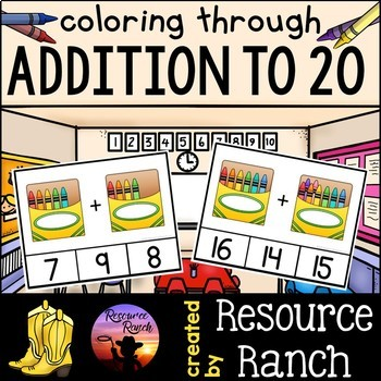 Addition Clip Cards Coloring Through Addition to 20