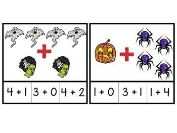 Addition Clip Cards - Halloween Theme