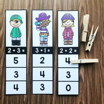 Addition Clip Cards - Pirate Math