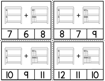 Addition Clip Cards Reading Through Addition to 20