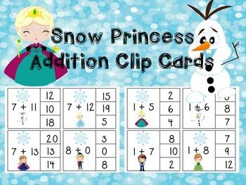 Addition Clip Cards!  Snow Princess!