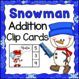Addition Clip Cards - Snowman