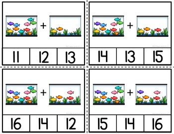 Addition Clip Cards Swimming Through Addition to 20