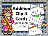 Addition Clip It Cards Sums from 0 to 20