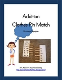 Addition Clothes Pin Match