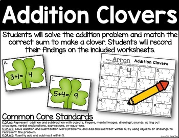 Addition Clovers - Addition Practice