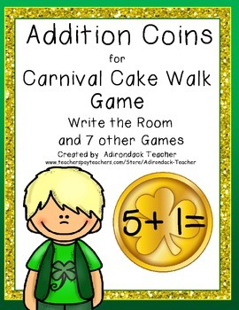 Addition Coins for Carnival Cake Walk Style Game Write the Room 7 games in all!