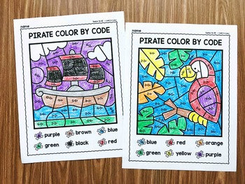 Addition Color By Code (Sums to 10) - Pirate Math