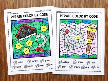 Addition Color By Code (Sums to 20) - Pirate Math