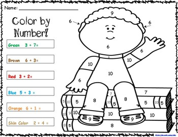 Addition Color By Numbers Worksheets - Single Digit Addition Worksheets