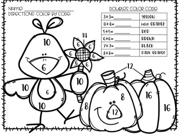 Addition Color-By-Number Fall Themed by CreatedbyMarloJ | TpT