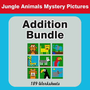 Addition - Color-By-Number Math Mystery Pictures Bundle