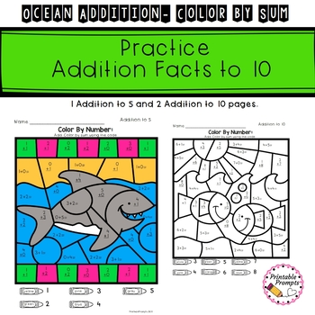Addition Color By Number- Ocean