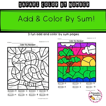 Addition Color By Number- Safari