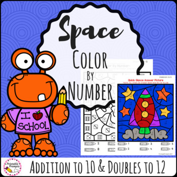 Addition Color By Number- Space
