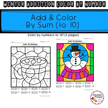 Addition Color By Number- Winter