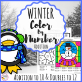 Addition Color By Number- Winter Math Activity
