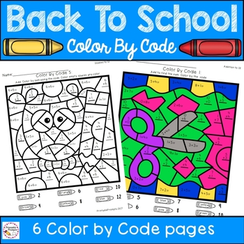 addition color by number back to school