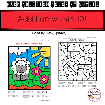 Addition Color by Number- Farm