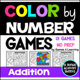 Addition Color by Number Games: Addition Games