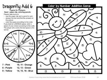 Addition Color by Number Addition Games for Addition Fluency TpT