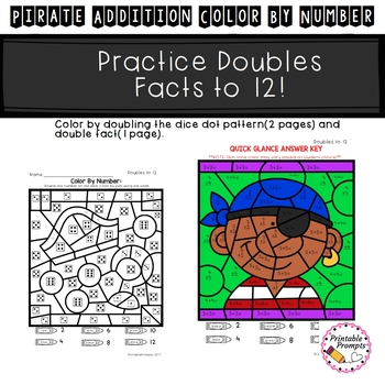 Addition Color by Number- Pirates