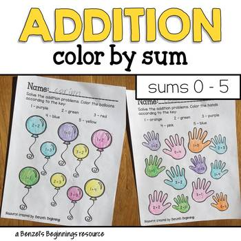 Addition Color by Sum {sums 0 to 5}