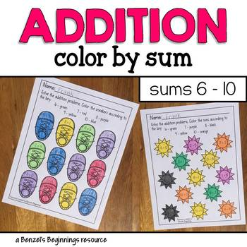 Addition Color by Sum {sums 6 to 10}